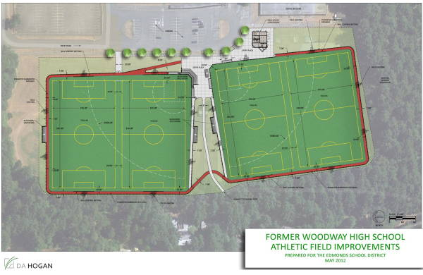 The schematic for the proposed Woodway athletic fields.