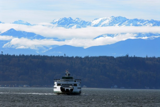 From Ken Sjodin: With the Olympic Mountains as a backdrop, the Edmonds-Kingston ferry makes its way across Puget Sound.