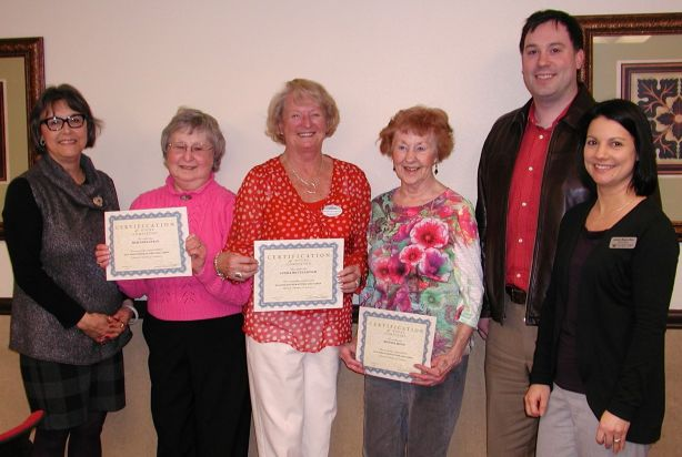 Those with 200 or more volunteer hours in 2013 received certificates. Present for the honor were Mim Edelstein, Linda McCullough and Bonnie Mott. Posing with them are, from left, Chamber Membership Director Valerie Claypool, Chamber President and CEO Kyle Vixie and Fairwinds Brighton Court General Manager Jackie Requa-Hall.
