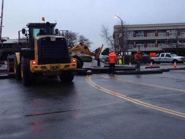 From Larry Vogel, work Tuesday morning that has closed the BNSF Dayton Street crossing to motor vehicles through 3 p.m. Wednesday.