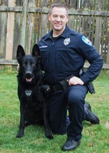 Edmonds police dog Hobbs with handler