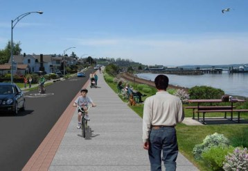 Artist's Conception: This rendering shows how the final project might look in this section of Sunset Avenue. (Illustration courtesy of City of Edmonds)