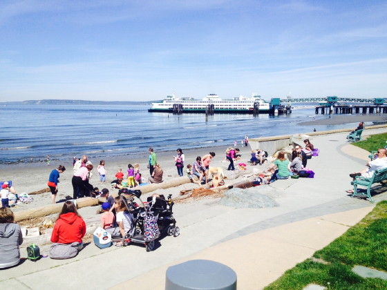 From Chuck Woodbury, warm weather drew a crowd to the Edmonds waterfront Wednesday afternoon.