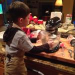My stand mixer likes to jump around during this part, so holding it down was the perfect job for my nephew!