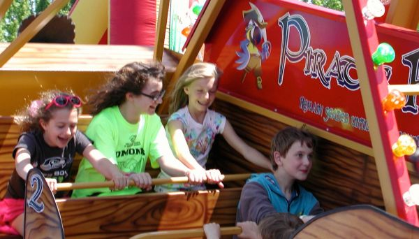 You'll find plenty of fun rides for the kids, including this appropriately themed swinging pirate ship.
