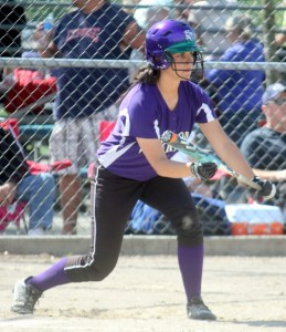 Edmonds-Woodway's Kelly DeBella squares up to bunt during a 4A District 1 tournament game against Lake Stevens Tuesday at Sky River Park in Monroe.  (Photo by David Pan)
