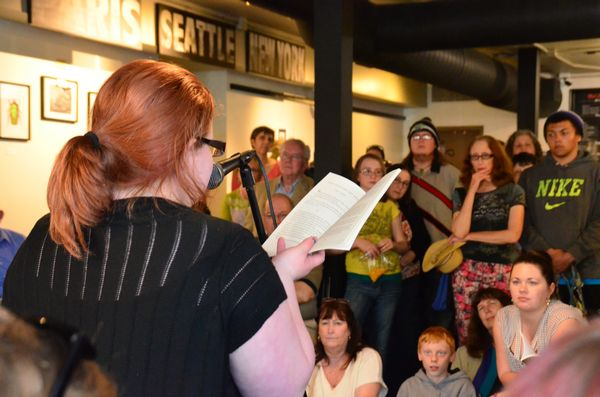 """Shelby Asbury reads from her narrative titled """"Good Intentions, Bad Results."""""""