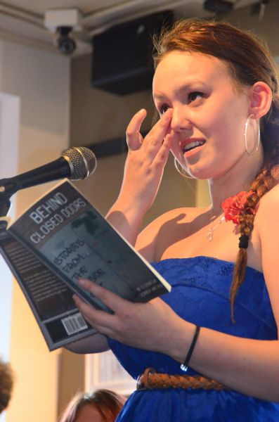 Many of the authors choked up during their readings. Jaycee Schrenk takes a moment to wipe a tear before continuing.