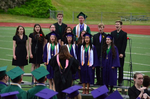"The programs opened with the EWHS Mello-Aires vocal ensemble giving a virtuoso jazz-tinged rendition of ""The Star Spangled Banner."""