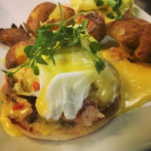 Crab Benedict is another featured brunch dish.