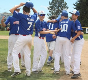 Pacific Little players celebrating their state championship victory earlier this month. (Photo by David Pan)
