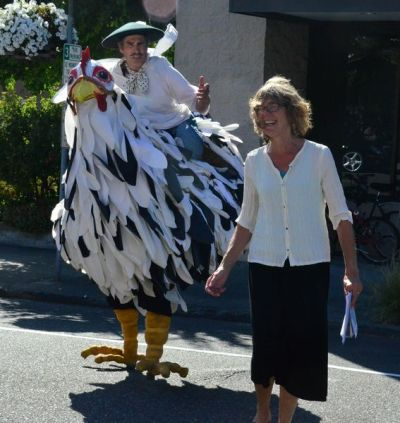Pierre the Chicken and his handler Pepe were special guests at the dedication, and walked the entire five-block route with attendees.     Pierre the Chicken and his handler Pepe were special guests at the dedication, and walked the entire five-block route with attendees, including Cultural Services Manager Frances Chapin.