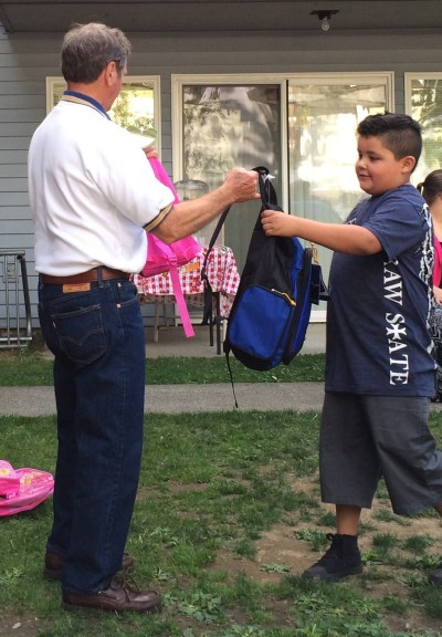 In addition, the children were delighted when they received a backpack filled with school supplies from Rotarian Bill Toskey.