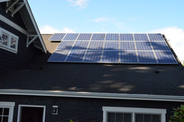 These panels on the roof of the Fine's home have a combined capacity of 5 kilowatts.  When the sun is shining, that's more than enough to run their entire home with enough left over to sell back to the PUD and significantly reduce their electric bill.