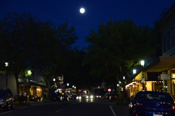 From Larry Vogel, a harvest moon over downtown Edmonds Sunday night.