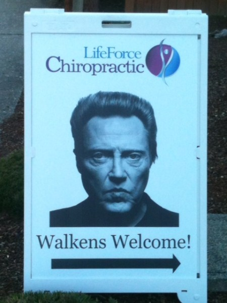 A little humor spotted by Vivian Murray Saturday, in front of the chiropractic clinic near the corner of 212th Street Southwest and 76th Avenue West.