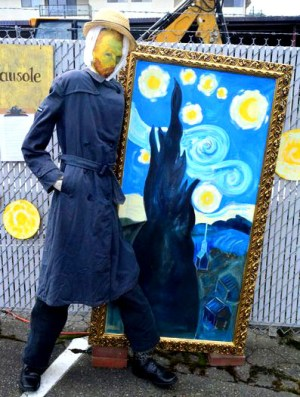 """Vincent Go-Crow is now displayed on """"the fence,"""" an outdoor display area adjacent to the ArtWorks at Second in Dayton in downtown Edmonds."""
