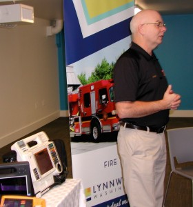 Greg Macke, assistant chief for the Lynnwood Fire Department, talks about automated external defibrillators and EKG equipment.