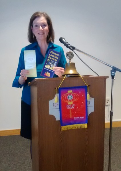 "The Edmonds Rotary club welcomed Pamela Van Swearinger, Attorney and volunteer for the JUST ASK Campaign as their speaker of the day.  Pamela volunteers through the Washington Cease Fire Foundation and Seattle King County Public Health to educate people on the importance of locking up any fire arms at home.  One of three homes with children in America have guns, many unlocked or loaded.  Every year thousands of children are killed or seriously injured as a result.  There are 30,000 deaths in the US a year and of that 2/3 are suicides, many of which are children.  ""JUST ASK"" is a phrase that should become as important to us as ""Do not drink and drive"" and ""Buckle up for safety"".  Just Ask when your child is invited to another home, ""do you have guns in your home and are they locked up securely?"