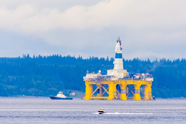 Mike McAuliffe sent this photo of the Polar Pioneer passing by Edmonds Thursday.