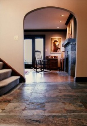 """Rajah """"Multi color"""" slate entry way and fire place."""