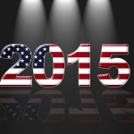 Illustration with Usa new year  2015 on black background.