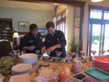 Bill Pennington and Carlos Vasquez work their magic in the kitchen.