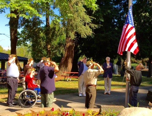 Veterans participating in the Flag Day 2015 ceremony in Edmonds.