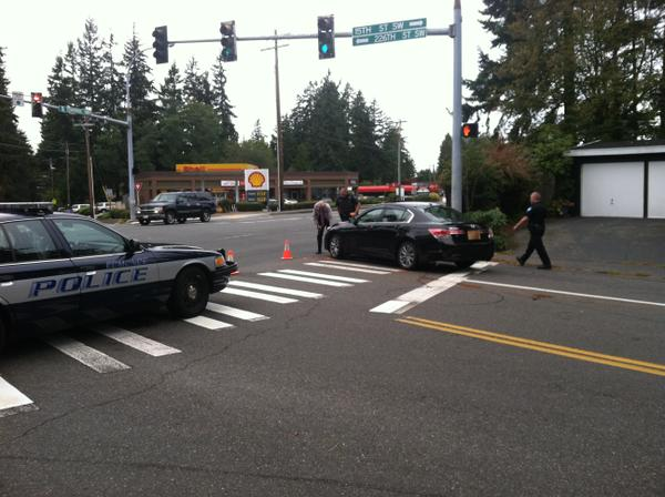 Edmonds police Friday afternoon were investigating a car-vs.-pedestrian collision at at 15th Street and Edmonds Way. A 71-year-old Edmonds man received minor injuries and was transported to Swedish Edmonds hospital. (Photo courtesy of Edmonds police)