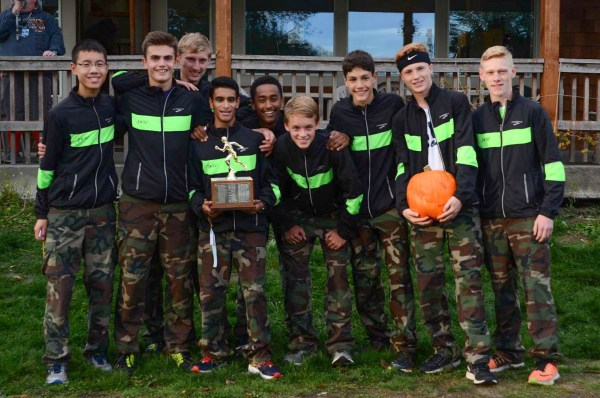 The Edmonds-Woodway boys celebrated their first place finish.