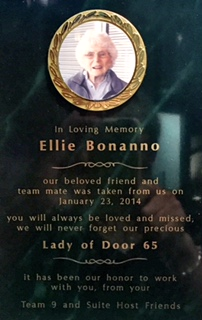 The plaque that was presented to Ellie Bonanno.