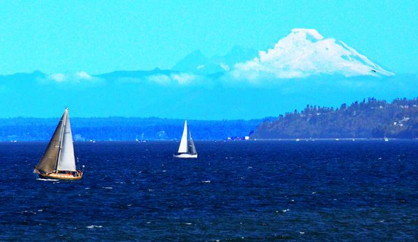 Larry Vogel was there to capture sailboats enjoying a windy day off Edmonds Saturday.