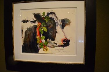 """""""Mooey Christmas,"""" a featured work at the Cole Gallery's annual holiday open house."""