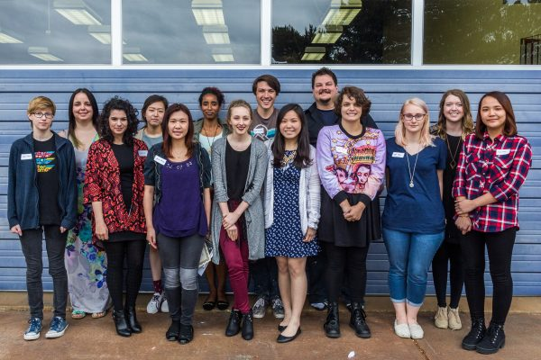 2016 Edmonds Arts Festival Foundation Scholarship Recipients Back Row: Amy Pierce, Sujin Ryu, Enani Rubio, Taylor Fridenmaker, Freddy Monroe, Rachel Bragg Front Row: Catherine Brown, Trisha Spicer, Jessica Phung, Jamie Hennessy, Celine Tjahjadi, Isabel Berry, Kjasa Myhre, Thao Pham. Photo courtesy of Dawn McLellan, EAFF.