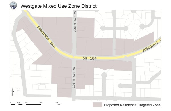 A map of the Westgate Mixed-Use Zone District, as approved by the Edmonds City Council in April 2015.