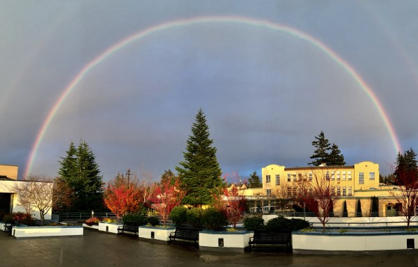 From Darryl Klippsten, a Monday afternoon rainbow seen from outside the Edmonds Library Plaza Room.