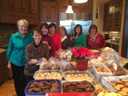 Those bagging cookies, from left: Carol Kinney, Lynn Donovan, Maggie Peterson, Carol Solberg, Yolanda Longoria, Kathy Hashbarger and Shirley Vicklund.