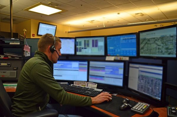 SNOCOM 911 operator workstations are state-of-the-art, with seven computer screens, emergency scanners, and several phone lines all linked via GPS and other technologies to instantly provide location and other information when calls come in.