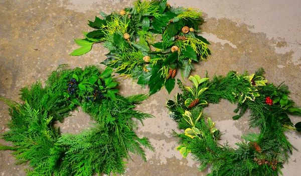 Thanks to a huge variety of materials from members' own gardens, each wreath has its own unique look.