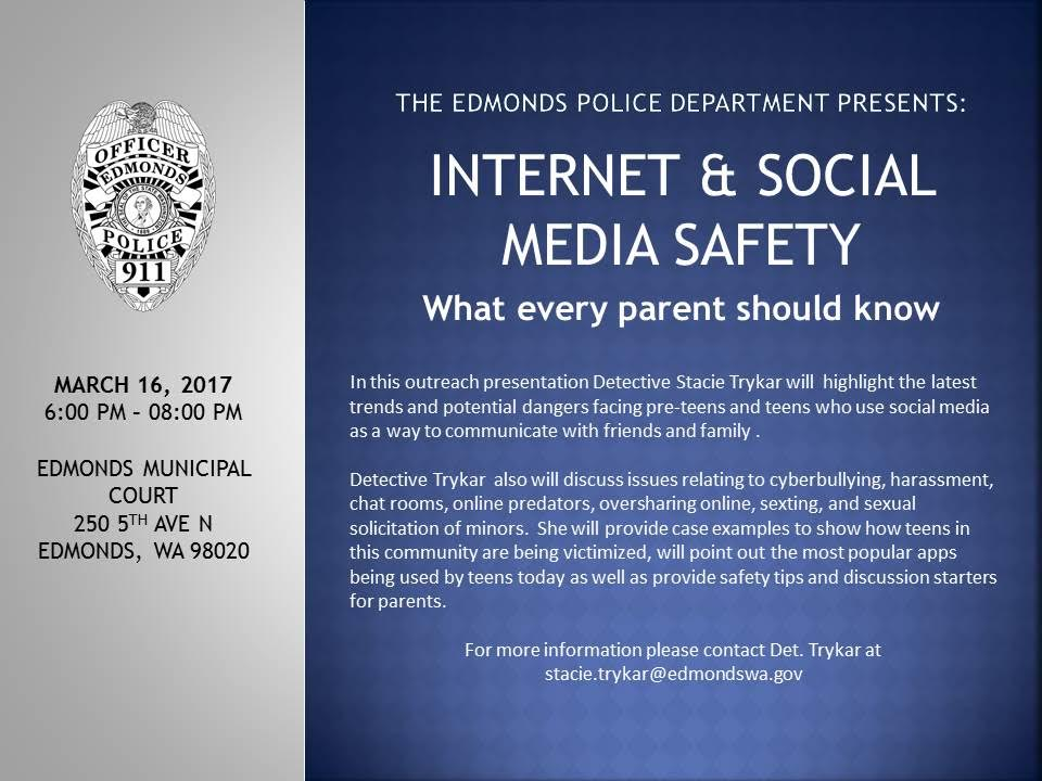 Now on video: Edmonds Police Internet and social media safety ...