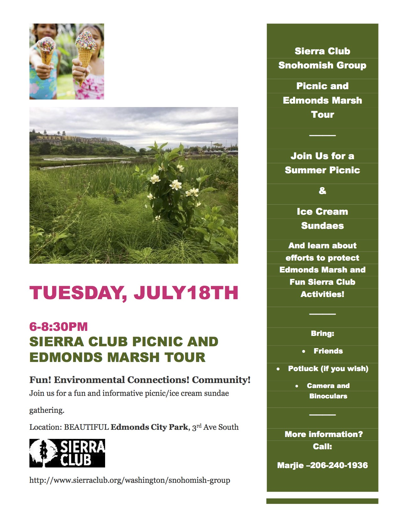 Join The Sierra Club's Snohomish Group For A Summer Picnic And Ice Cream  Sundaes, And Learn About Efforts To Protect The Edmonds Marsh From 68:30  Pm At