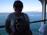 Another photo with Amanda as we neared the island