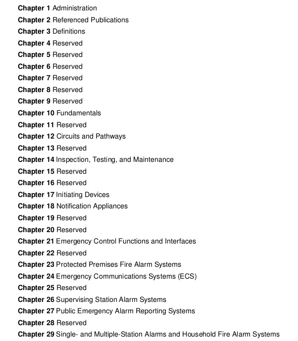 nfpa 72 chapters
