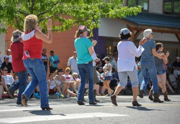 Line dancers entertained parade goers before the main event on Glover Street