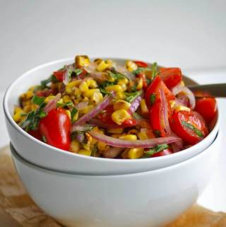 Roasted Corn, Tomato & Basil Salad | A Nutritionist Eats
