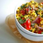 Roasted Corn, Tomato & Basil Salad | A Nutritionist Eats