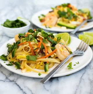 plate of Asian shrimp noodles