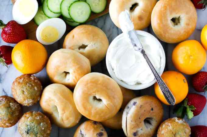 brunch platter with bagels and fruit