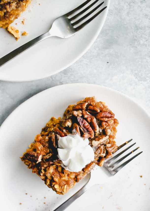 Baked Pumpkin Pie Oatmeal on plate