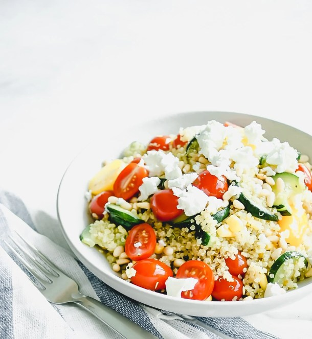 healthy quinoa salad in a bowl